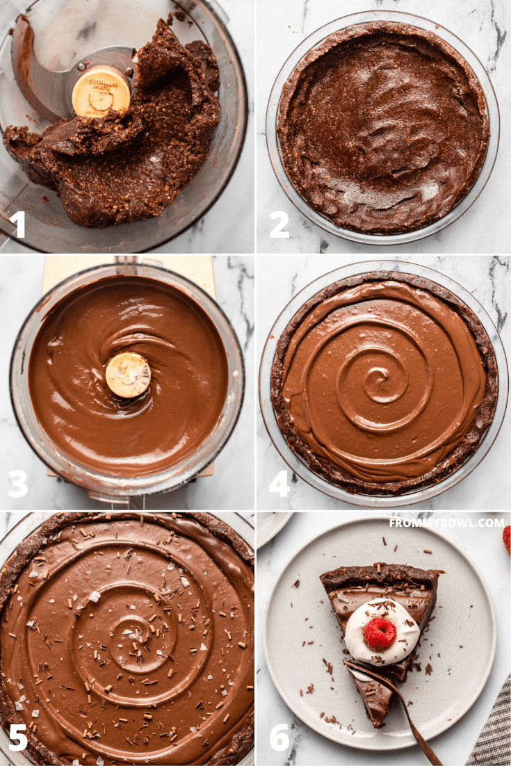 step-by-step photos showing process of making no-bake crust and chocolate filling for no-bake chocolate pie