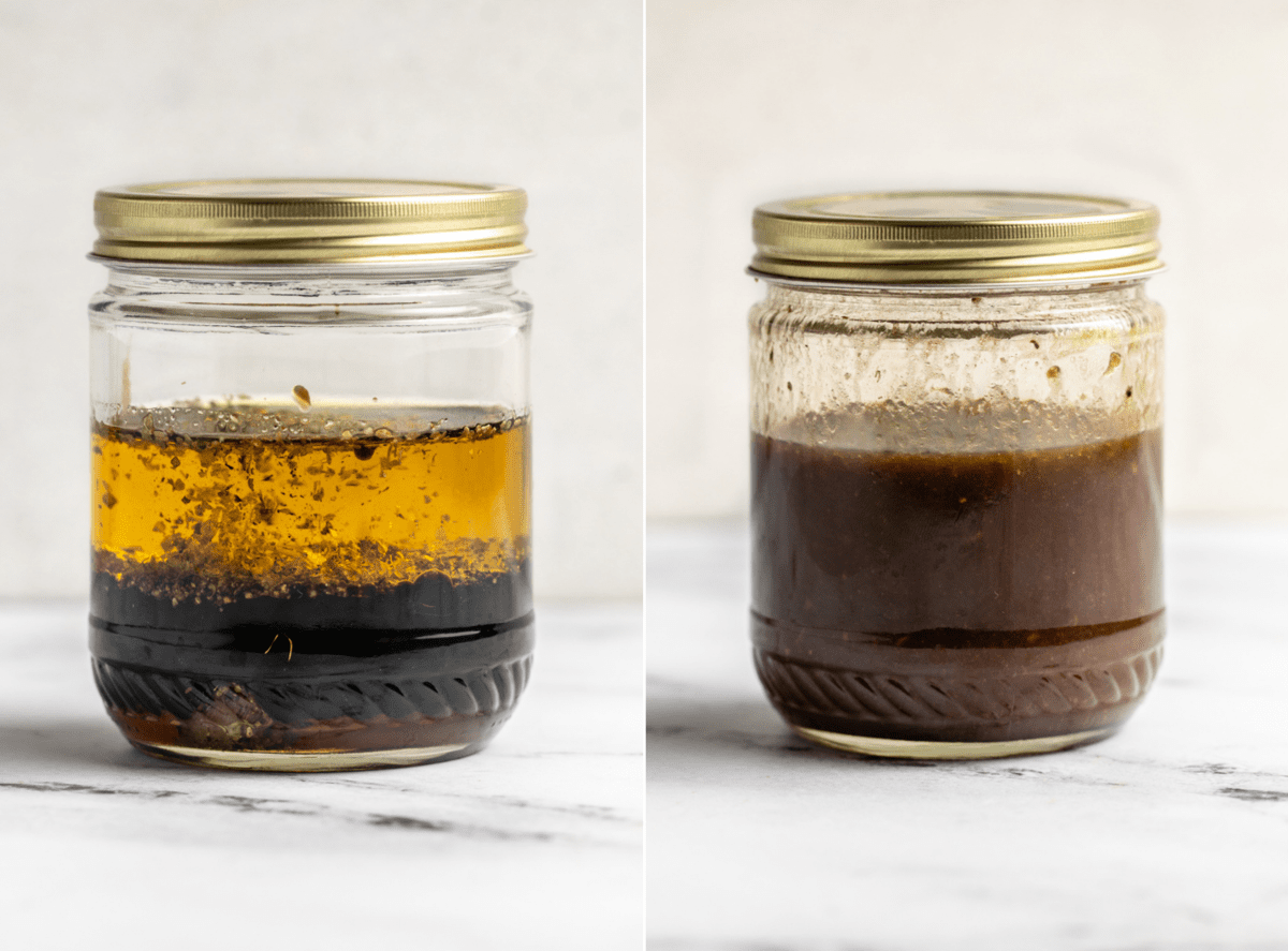 photo if ingredients in jar of balsamic before shaking next to photo of jar after shaking well
