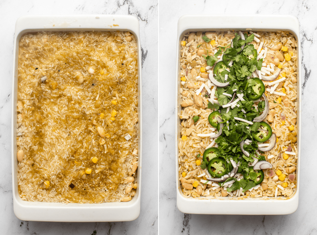 photo of dump and bake casserole before baking next to photo of cooked casserole topped with cilantro, red onion, and jalapeño