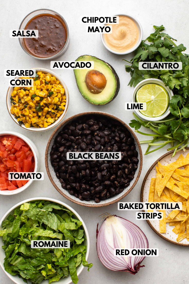 ingredients for taco salad labeled and laid out in ceramic bowls on stone countertop