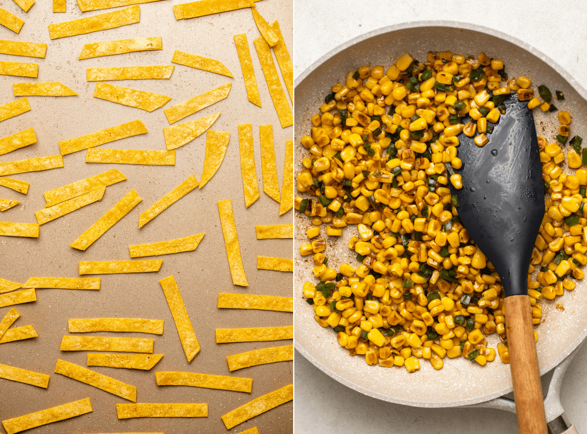 photo of baked tortilla strips on gold baking tray next to photo of pan of seared corn with rubber spatula