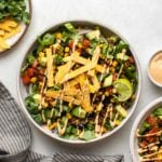 two vegan taco salads topped with tortilla strips and chipotle mayo