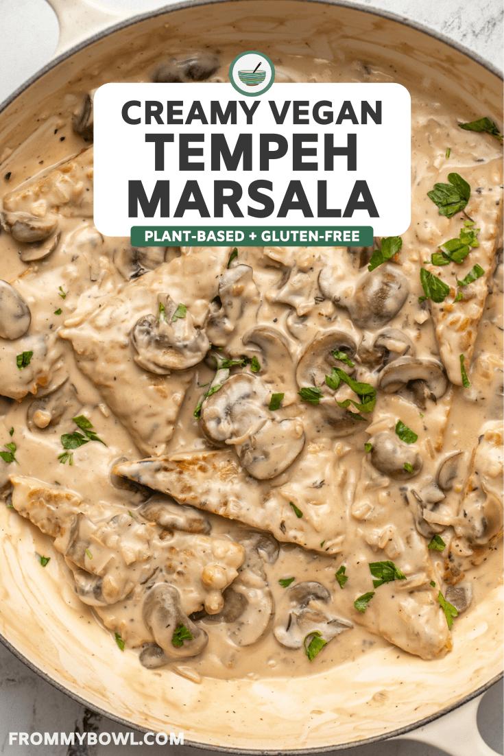 tempeh marsala in mushroom cream sauce topped with fresh parsley