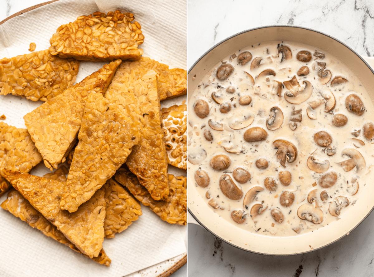 photo of pan seared tempeh next to photo of mushrooms in cream sauce