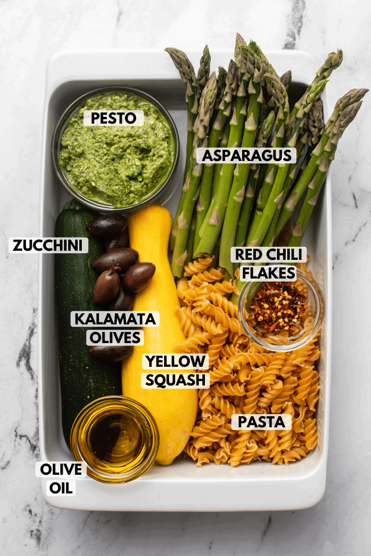 ingredients for roasted vegetable pesto pasta arranged in white casserole dish. Text labels read pesto, asparagus, kalamata olives, zucchini, yellow squash, red chili flakes, pasta, and olive oil