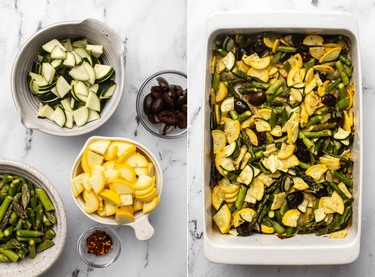 photo of thinly sliced squash, asparagus, olives, and chili flakes in small individual bowls next to photo of casserole dish with all vegetables tossed together after roasting