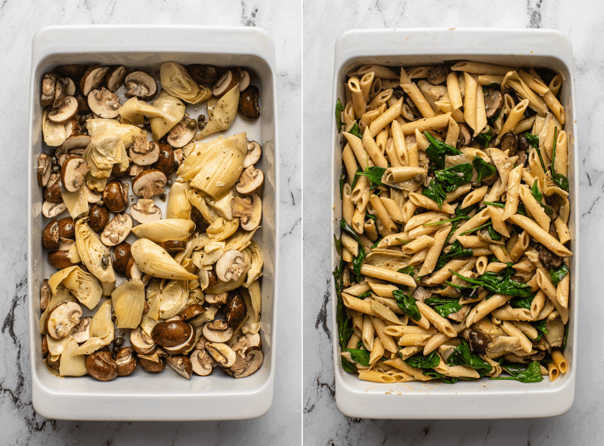 photo of mushrooms and artichoke hearts in casserole dish before roasting next to photo of roasted veggies mixed with wilted spinach and pasta
