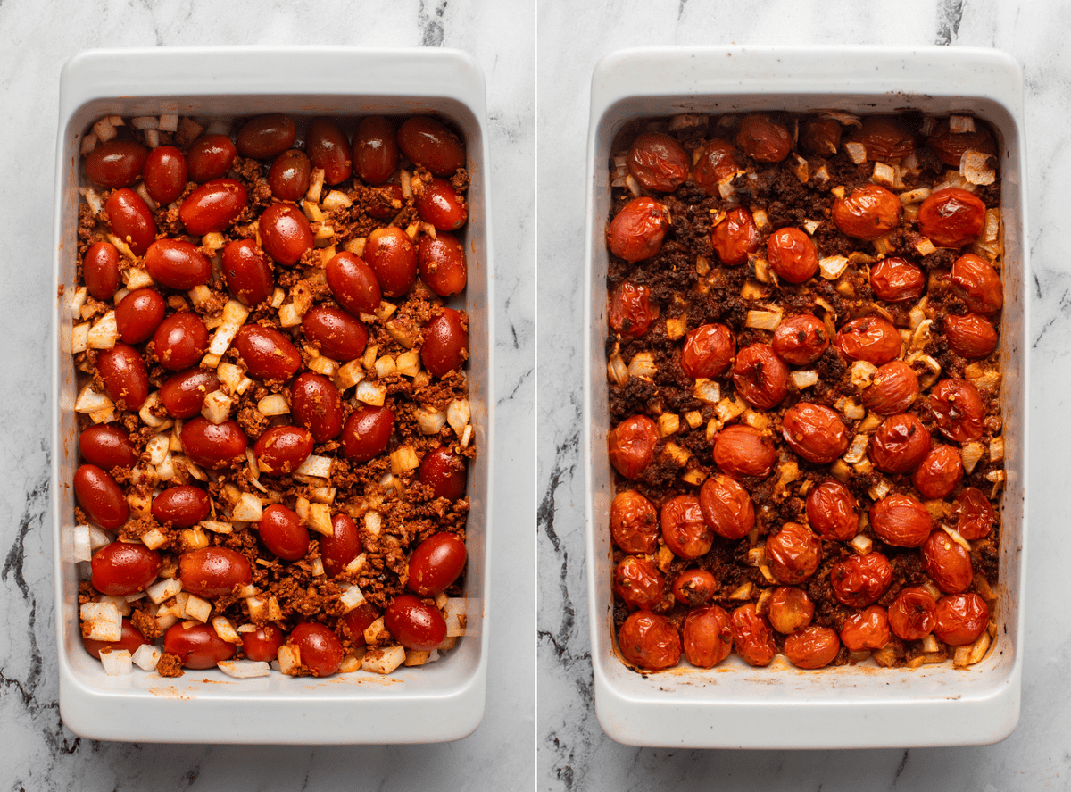 Two side-by-side photos of tomatoes, onion, garlic, and chorizo mixed together with olive oil in casserole dish. The first photo shows the dish before baking and the second shows after baking