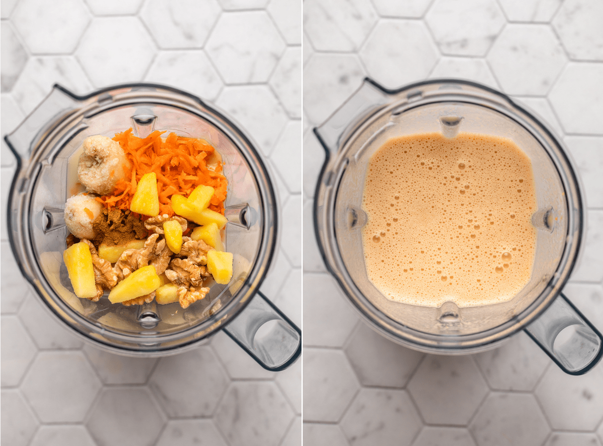two side by side photos of a blender, the left one with ingredients before blending and the right photo of them after blending