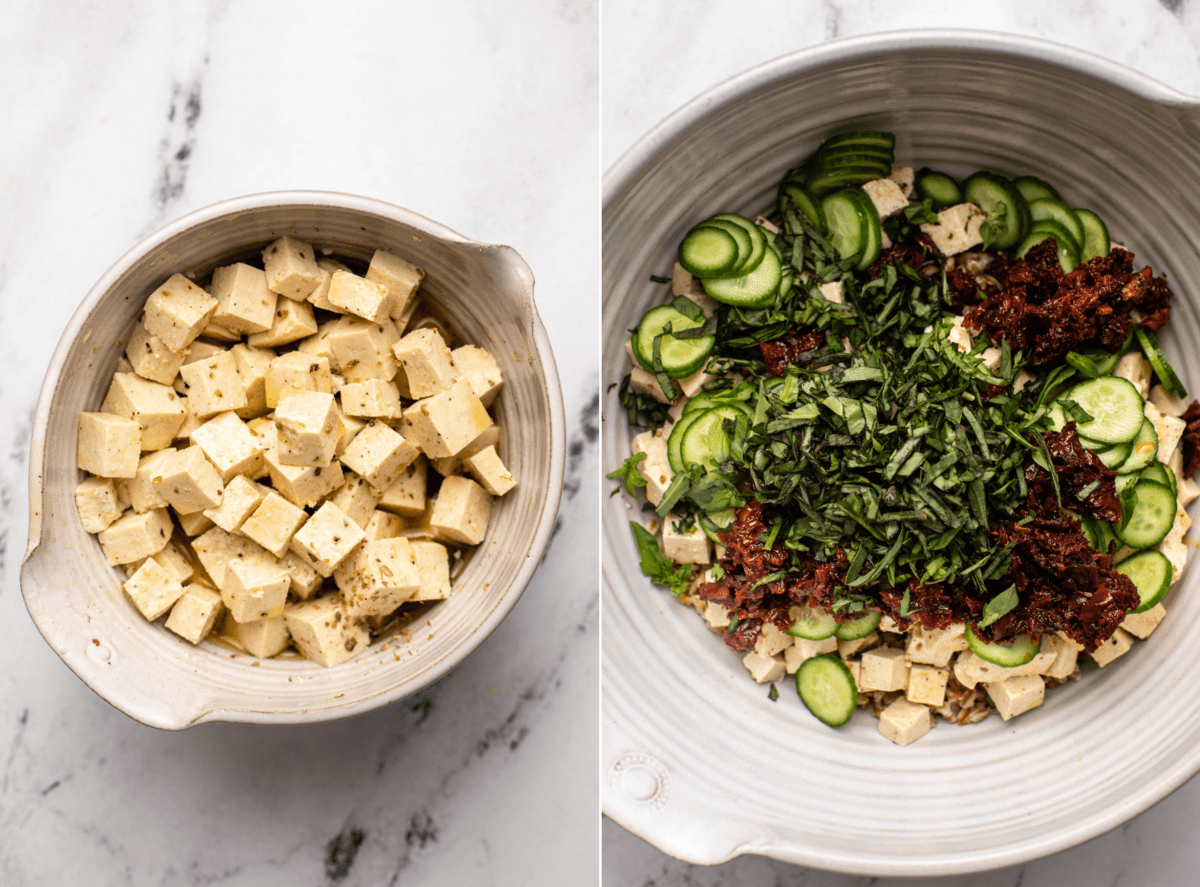 Two photos side by side; the first photo is a small bowl of tofu cubes in an oil and spice marinade. The second photo shows a large mixing bowl of the farro, cucumber, tomatoes, tofu, and basil before mixing together
