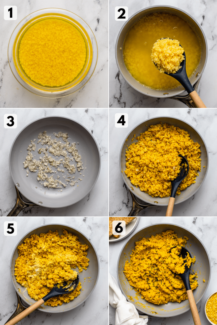 Photo steps for how to make mung bean scramble. Photos show soaking beans, cooked beans, sauteed shallot and garlic, cooked mung beans with spices, stirring in coconut cream, and a spoon in the pan with the finished dish