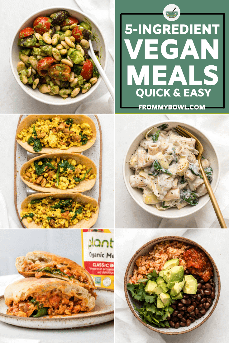 Collage of photos of pesto bean salad, vegan tofu breakfast tacos, spinach and artichoke pasta, a stuffed bolognese calzone, and a bean and rice bowl with avocado