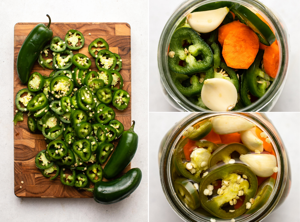 Three photos documenting the pickling process; jalapenos are sliced on a wooden cutting board, jalapenos in a glass jar before pickling, and jalapenos in brine after they have fully pickled