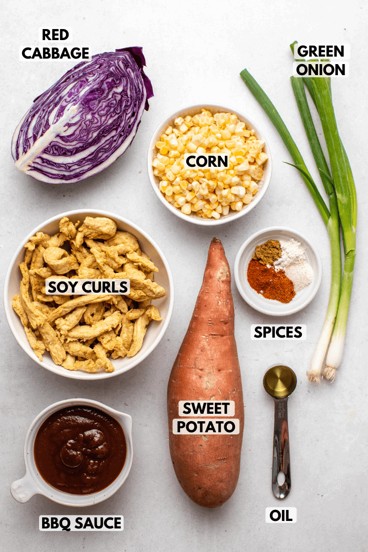Ingredients for Sheet Pan BBQ arranged on stone background. Clockwise text labels read corn, green onion, spices, oil, sweet potato, bbq sauce, soy curls, and red cabbage