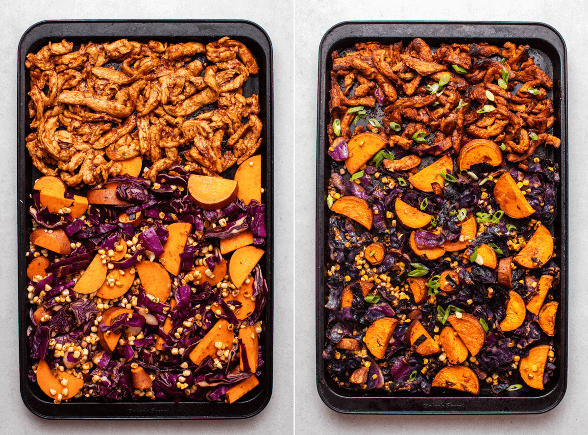 Two side-by-side photos of the sheet pan BBQ before and after cooking