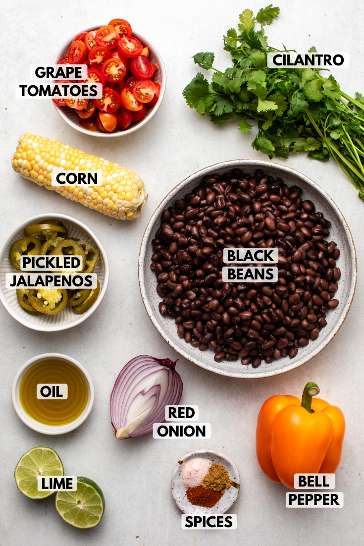 Ingredients for black bean tex mex salad arranged on white background. Clockwise text labels read cilantro, black beans, bell pepper, red onion, spices, lime, oil, pickled jalapeños, corn, and tomatoes