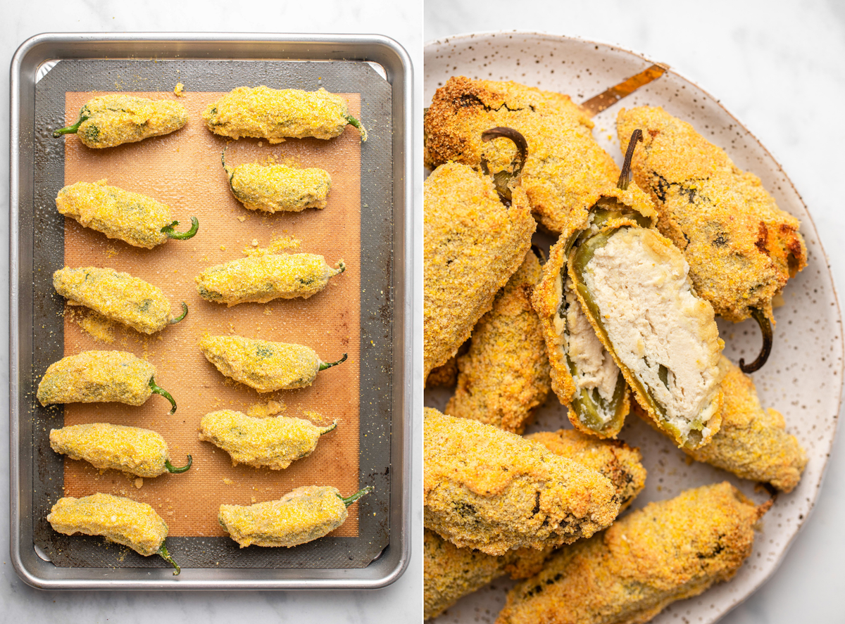 Photo of jalapeño poppers on baking sheet next to photo of baked peppers on a plate, with one cut in half to show the cream cheese filling