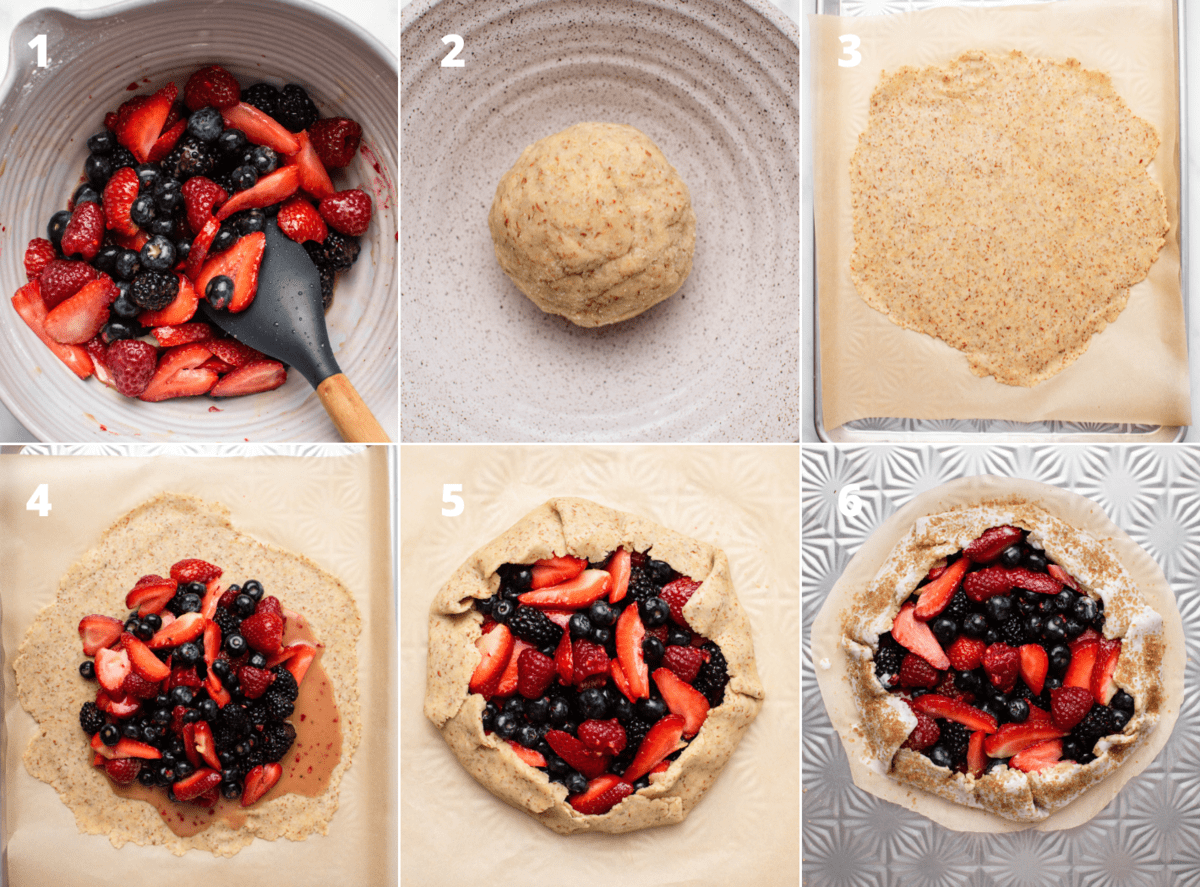 6 side-by-side process photos of the berries, a dough ball, the dough rolled flat, the berry filling added to the dough, the galette folded up, and the galette before baking with sugared edges