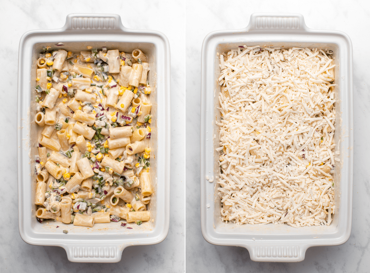 Two side-by-side photos of the jalapeño popper pasta bake before baking; one to show the pasta, and another after the pasta is covered with cheese