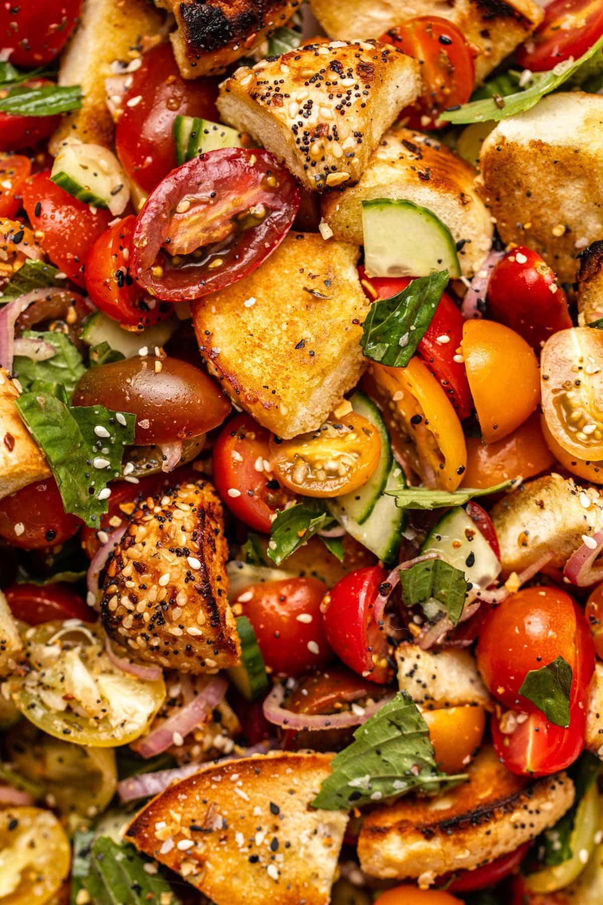 Close-up photo of everything bagel pieces mixed with tomatoes, cucumber, and basil