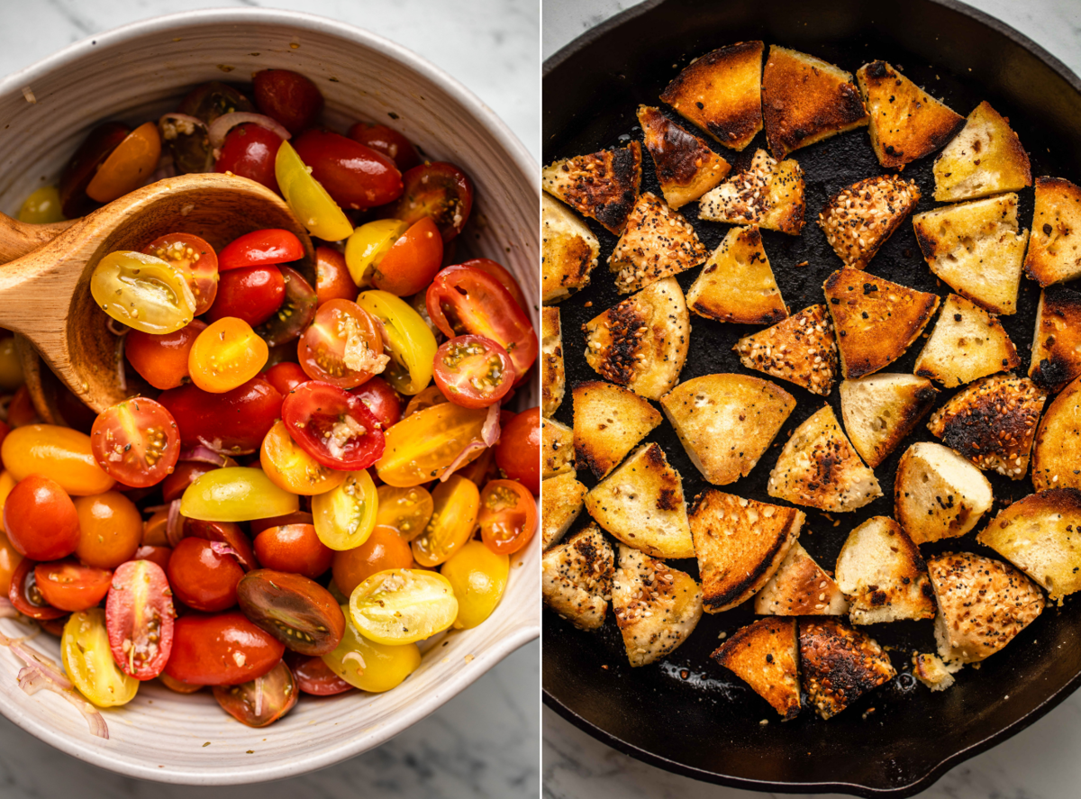 Marinating cherry tomatoes in large white bowl next to photo of toasted everything bagel pieces pan-fried in a cast iron skillet