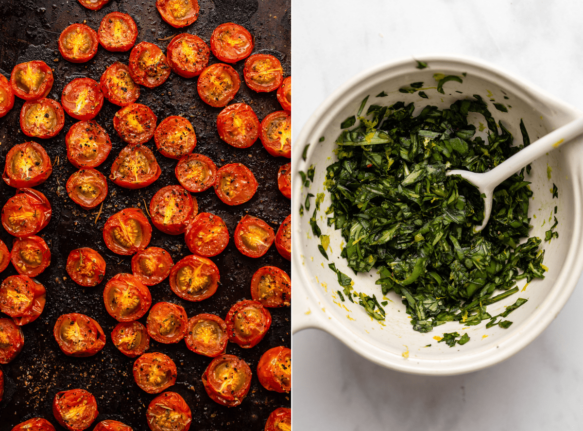 Two side by side photos; the first of roasted cherry tomatoes on a baking tray, the second of a small bowl of basil gremolata