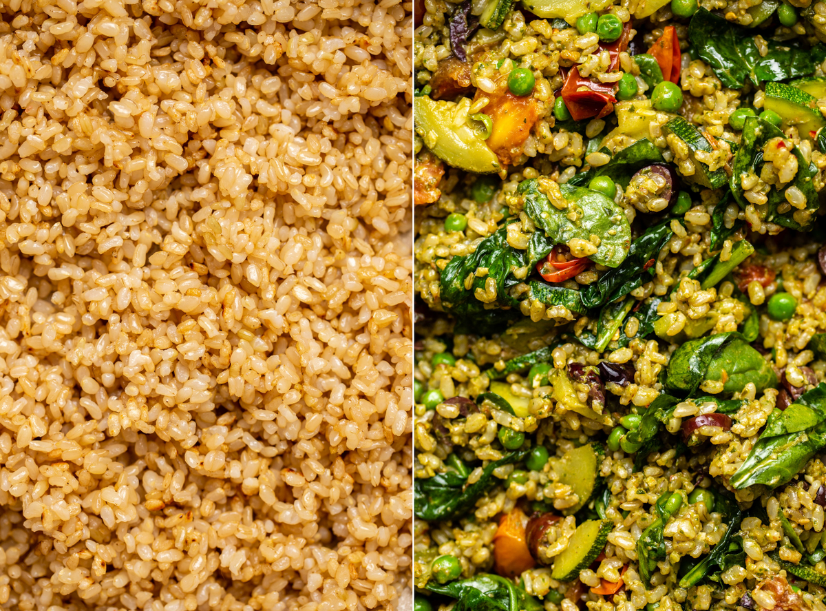 two side-by-side photos of pan toasted brown rice and completed pesto fried rice