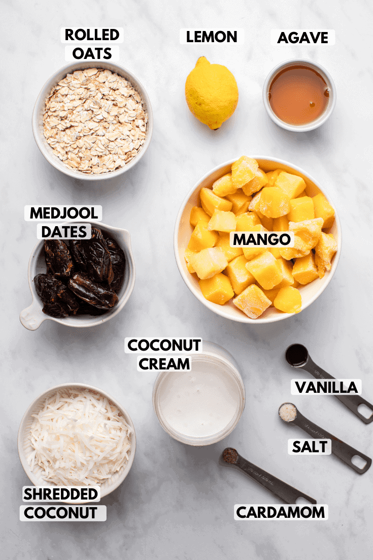 Ingredients for coconut mango tart in white bowls on marble background. Text labels read lemon, agave, mango, vanilla, salt, coconut cream, cardamom, shredded coconut, medjool dates, and rolled oats