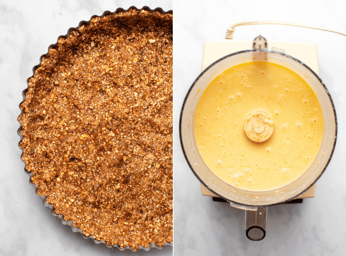 Side-by-side photos of crust pressing into tart pan next to blended mango filling in a food processor