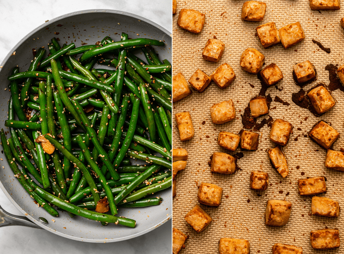 Side-by-side photos of sautéed garlic green beans in a pan, next to roasted crispy tofu on a baking tray