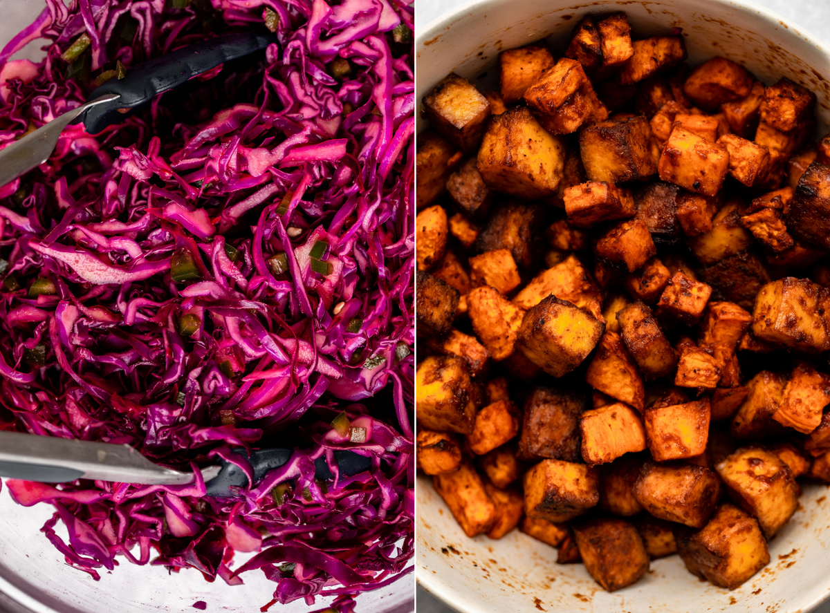 side-by-side photos of red cabbage slaw and baked sweet potato and tofu in a white bowl