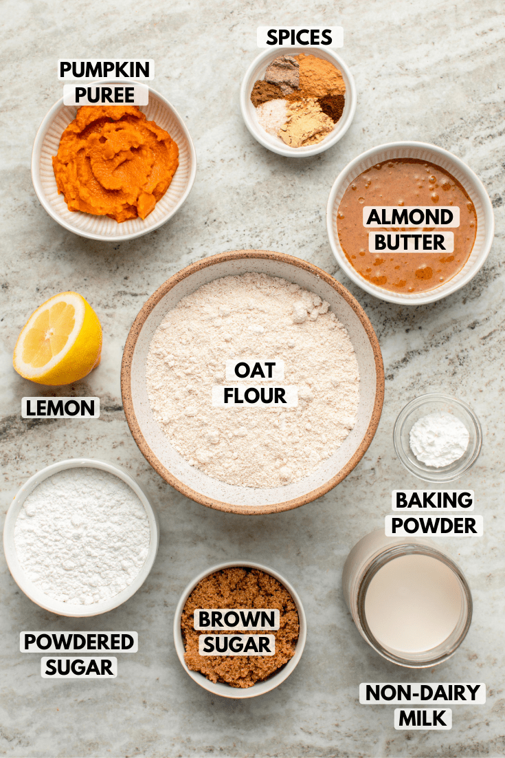 Ingredients for pumpkin chai spiced donuts in small bowls on stone background. Clockwise text labels read spices, almond butter, oat flour, baking powder, non-dairy milk, brown sugar, powdered sugar, lemon, and pumpkin puree