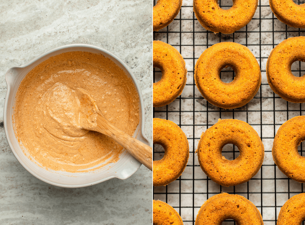 Side-by-side photos of donut batter in mixing bowl next to cooked donuts on cooling rack