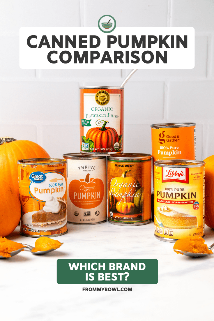 Cans of pumpkin puree arranged with pie pumpkins on marble kitchen countertop