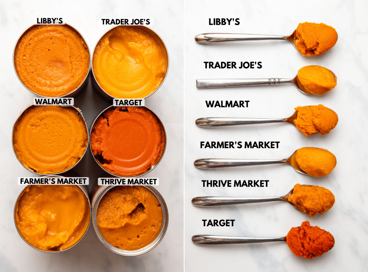 side-by-side photos of open cans of pumpkin puree next to line up of pumpkin puree on spoons