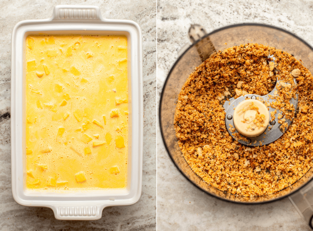 Side-by-side photos of pumpkin mac and cheese in casserole dish before baking, next to a photo of sourdough rosemary breadcrumbs in a food processor