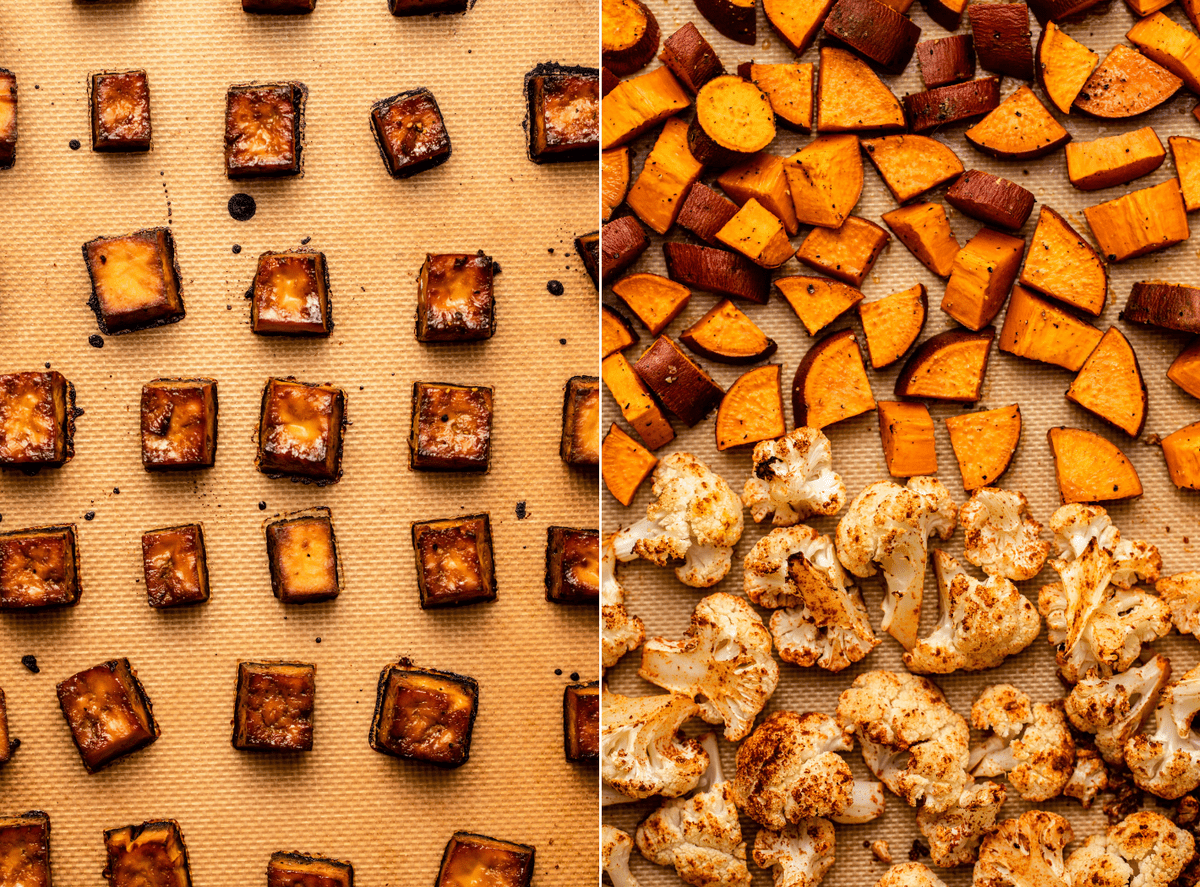 side-by-side photos of baked tofu and baked sweet potato and cauliflower on a baking tray