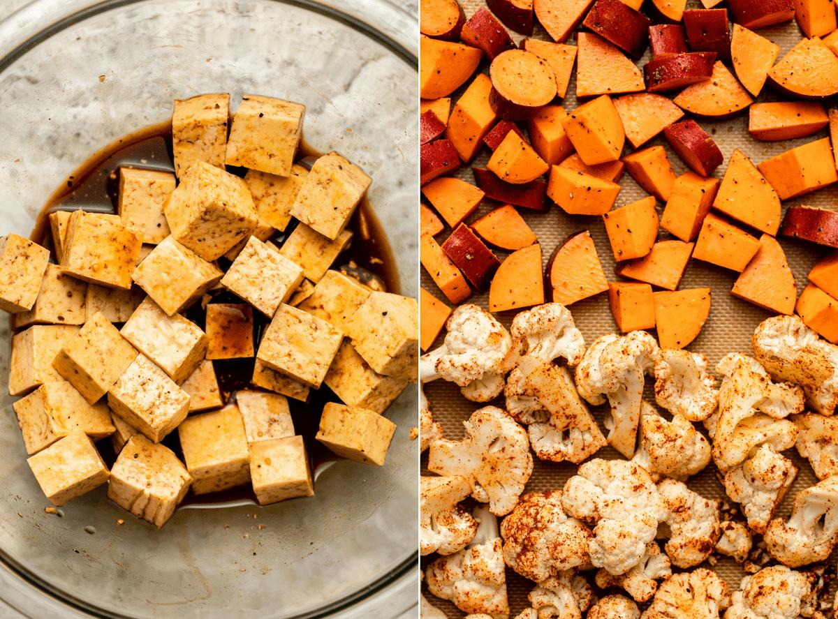 side-by-side photos of marinating tofu and sweet potato and cauliflower on baking sheet before roasting