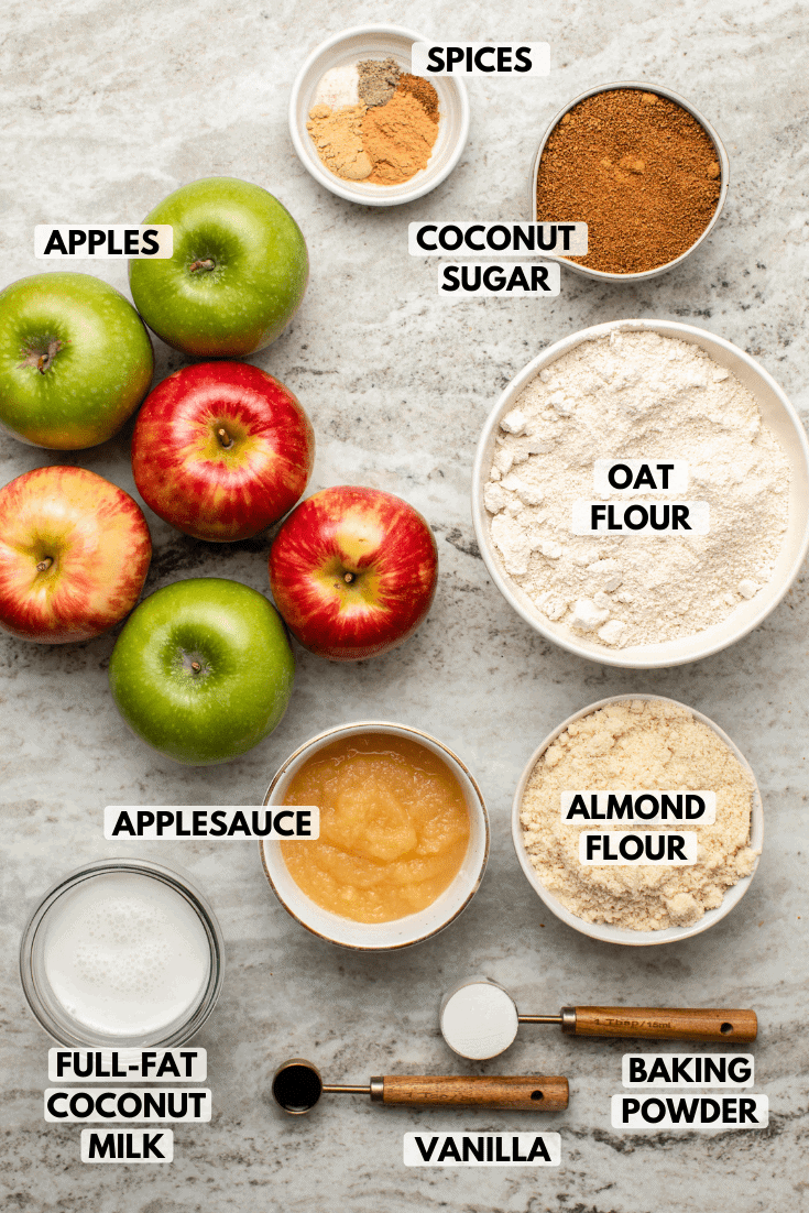 Ingredients for vegan apple cake in small white bowls on stone background. Clockwise text labels read spices, coconut sugar, oat flour, almond flour, baking powder, vanilla, applesauce, full-fat coconut milk, and apples