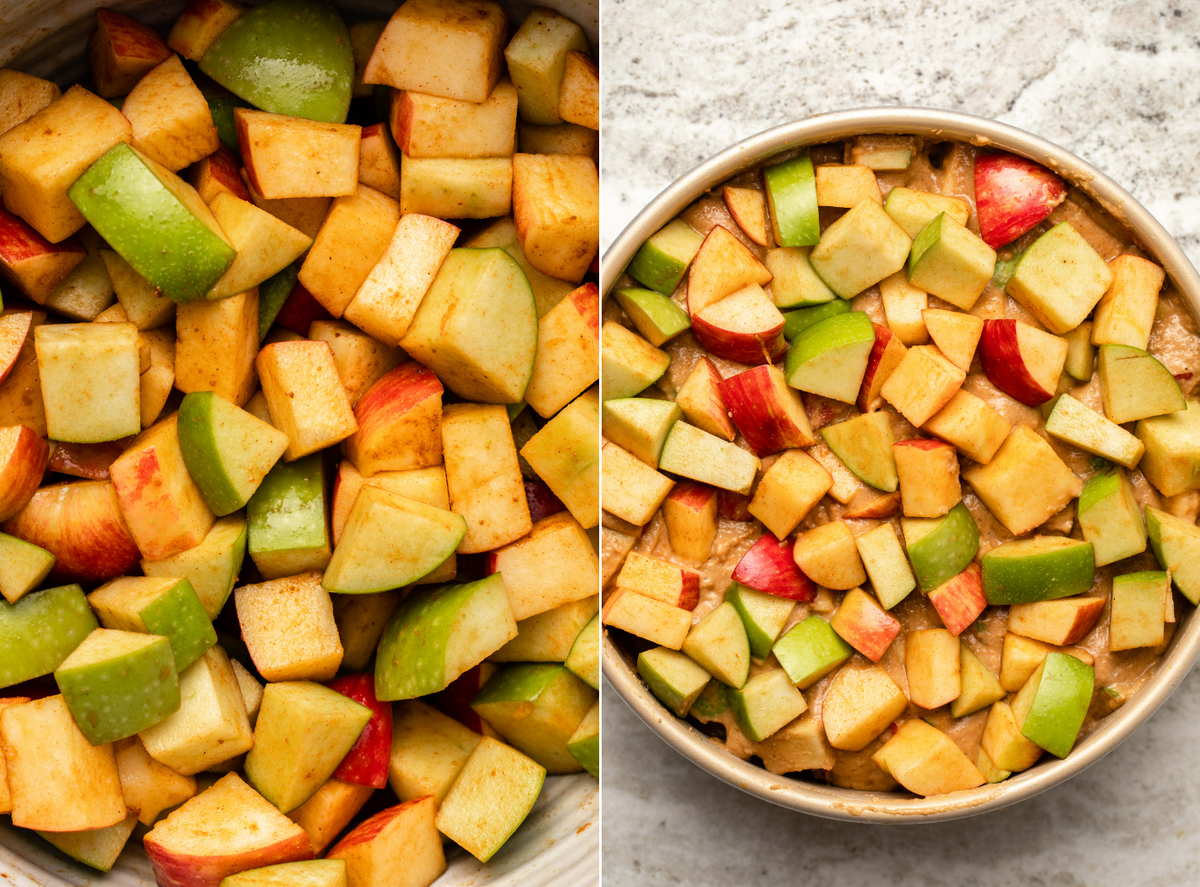 Side-by-side photos of marinating spices apples next to a photo of apple cake in cake pan before baking